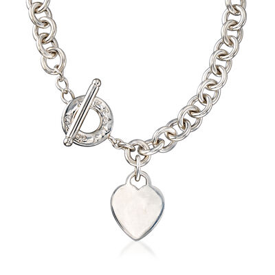 C. 1990 Vintage Tiffany Jewelry Sterling Silver Necklace with Heart Charm, , default