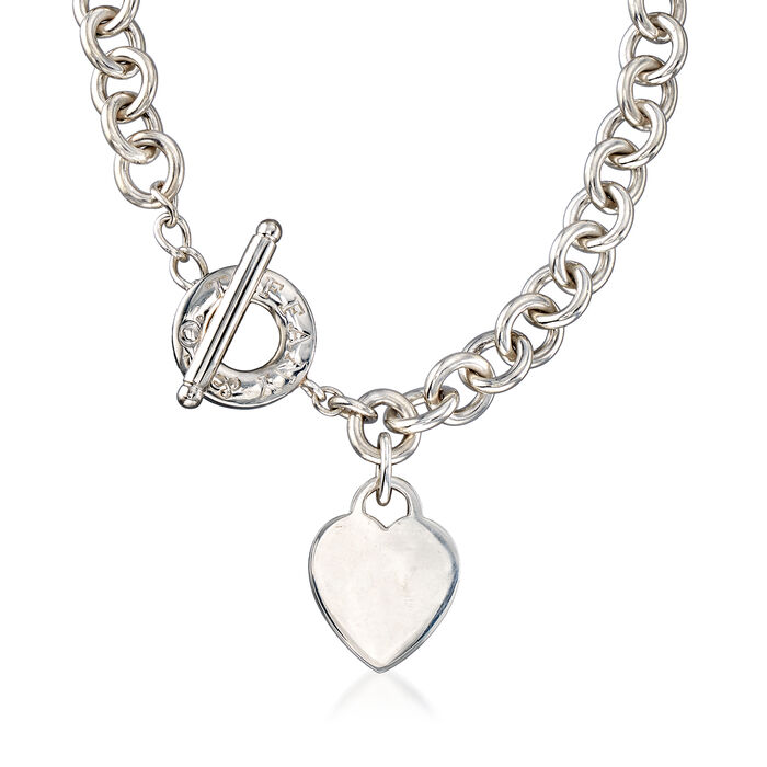 """C. 1990 Vintage Tiffany Jewelry Sterling Silver Necklace with Heart Charm. 16"""", , default"""