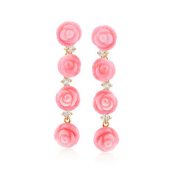 Pink Coral Rose and .70 ct. t.w. White Topaz Linear Earrings in 14kt Gold Over Sterling, , default