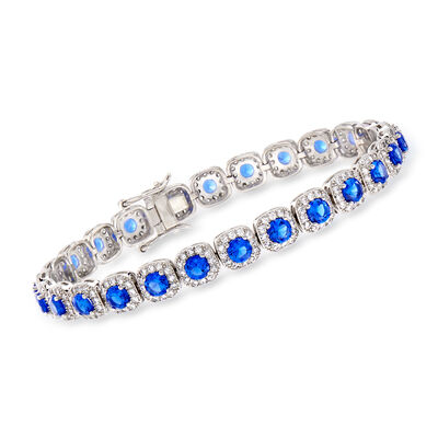 5.75 ct. t.w. Simulated Sapphire and 2.80 ct. t.w. CZ Bracelet in Sterling Silver