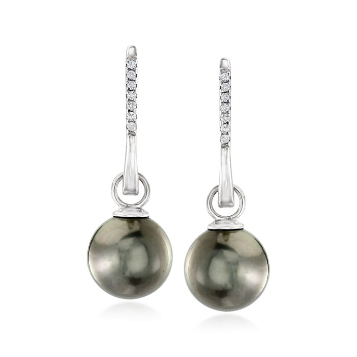 9-10mm Black Cultured Tahitian Pearl and .11 ct. t.w. Diamond Drop Earrings in 14kt White Gold