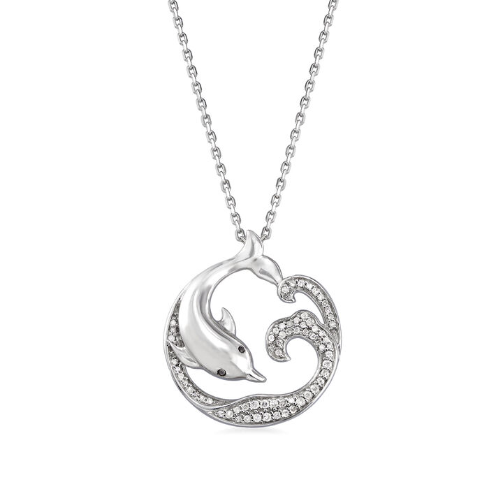 .15 ct. t.w. Diamond Dolphin Pendant Necklace in Sterling Silver