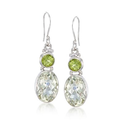 9.25 ct. t.w. Green Prasiolite and 3.80 ct. t.w. Peridot Drop Earrings in Sterling Silver, , default