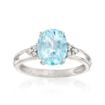 2.00 Carat Aquamarine and Diamond Ring in 14kt White Gold, , default