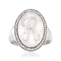 .16 ct. t.w. Diamond Single Initial Oval Ring in Sterling Silver, , default