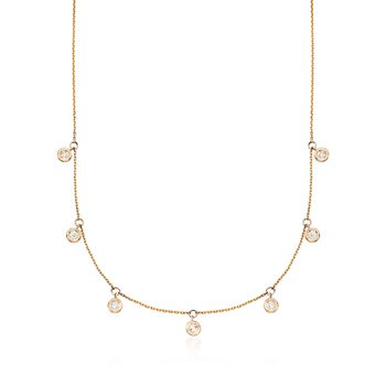 ".50 ct. t.w. Bezel-Set Diamond Dangle Necklace in 14kt Yellow Gold. 16"", , default"