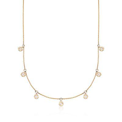 .50 ct. t.w. Bezel-Set Diamond Dangle Necklace in 14kt Yellow Gold, , default
