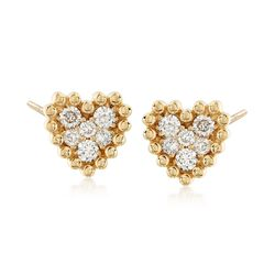 .68 ct. t.w. Diamond Cluster Heart Earrings in 14kt Yellow Gold , , default