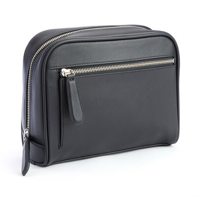 Royce Black Leather Toiletry Bag
