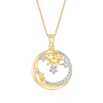 14kt Two-Tone Gold Sun, Moon and Stars Pendant Necklace, , default
