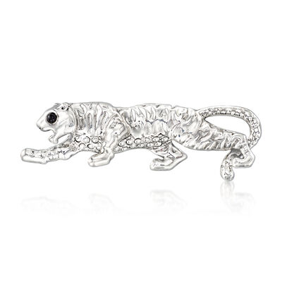 Black Onyx Tiger Pin in Sterling Silver, , default