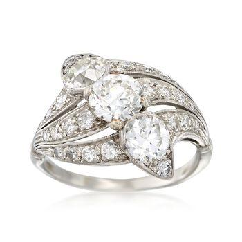 C. 1950 Vintage 2.35 ct. t.w. Diamond Trio Ring in Platinum. Size 6.75, , default