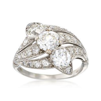 C. 1950 Vintage 2.35 ct. t.w. Diamond Trio Ring in Platinum, , default
