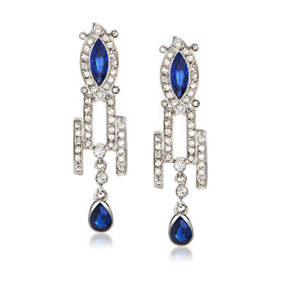 C. 1950 Vintage 1.10 ct. t.w. Sapphire and .80 ct. t.w. Diamond Drop Earrings in Platinum, , default