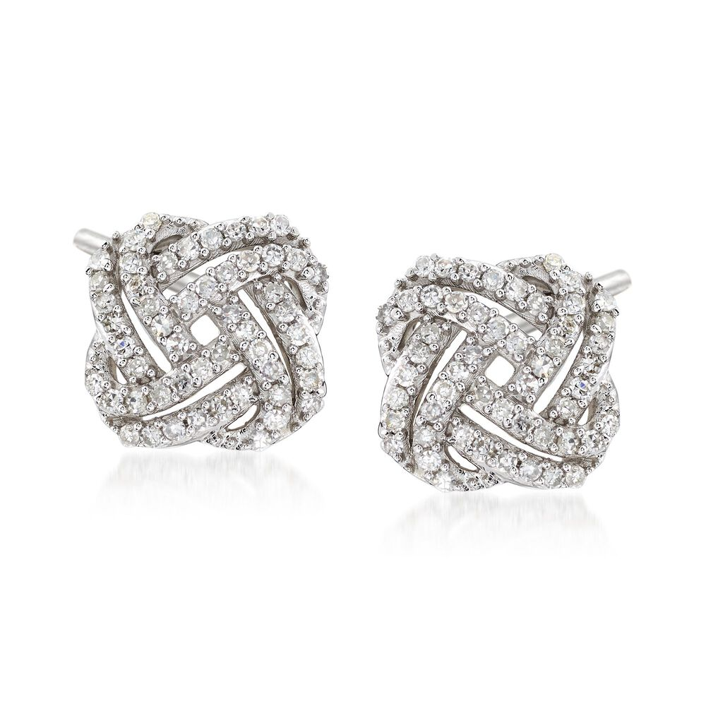 T W Diamond Squared Love Knot Stud Earrings In 14kt White Gold