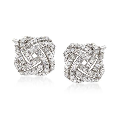 .33 ct. t.w. Diamond Squared Love Knot Stud Earrings in 14kt White Gold, , default