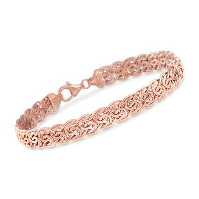 14kt Rose Gold Flat Byzantine Bracelet