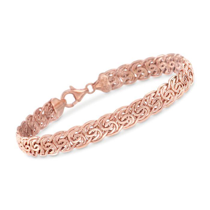 "14kt Rose Gold Flat Byzantine Bracelet. 8"", , default"