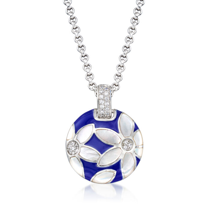 "Belle Etoile ""Moonflower"" Blue Enamel and Mother-Of-Pearl Pendant with .18 ct. t.w. CZ in Sterling Silver"