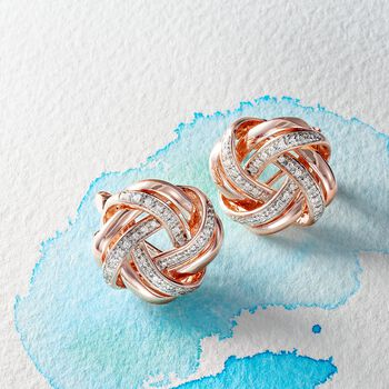 .20 ct. t.w. Diamond Love Knot Earrings in 18kt Rose Gold Over Sterling, , default