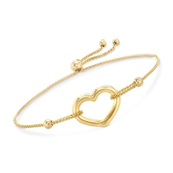 14kt Yellow Gold Open-Space Heart Bolo Bracelet, , default