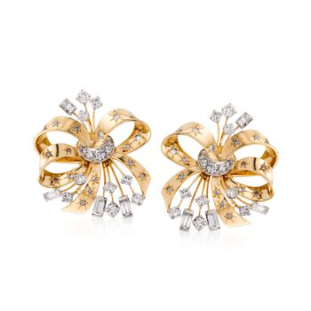 C. 1950 Vintage 3.65 ct. t.w. Diamond Bow Earrings in 14kt Two-Tone Gold, , default