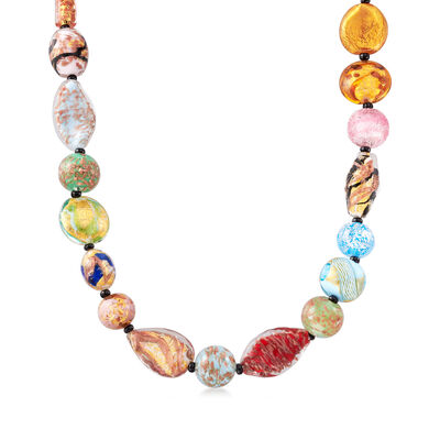 Italian Multicolored Murano Glass Bead Necklace with 18kt Gold Over Sterling, , default