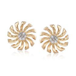 .10 ct. t.w. Diamond Pinwheel Earrings in 14kt Yellow Gold, , default
