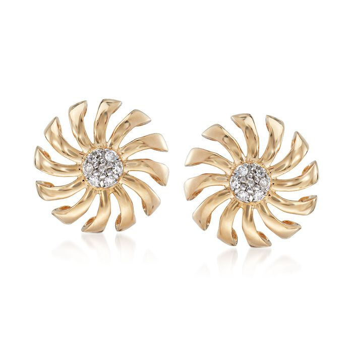 .10 ct. t.w. Diamond Pinwheel Earrings in 14kt Yellow Gold, , default