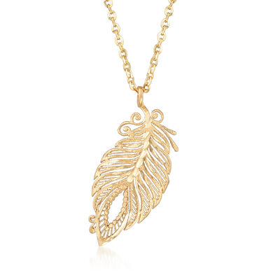 Italian Feather Necklace in 18kt Yellow Gold, , default