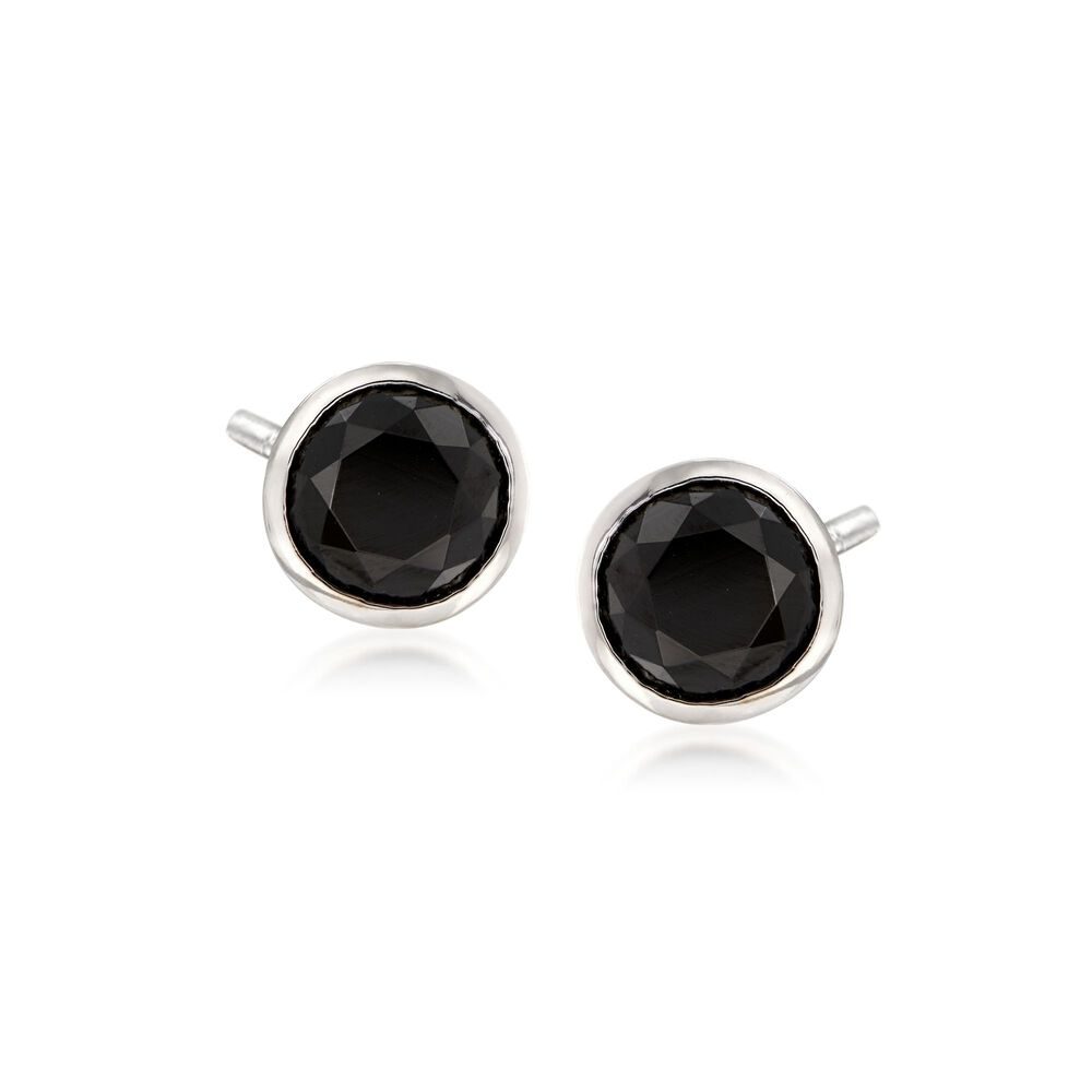 T W Bezel Set Black Spinel Stud Earrings In Sterling Silver