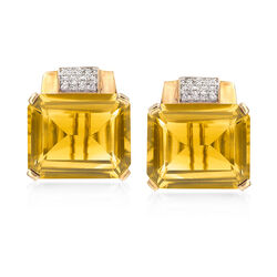 25.00 ct. t.w. Citrine and .26 ct. t.w. Diamond Earrings in 14kt Yellow Gold, , default
