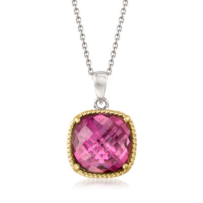 6.00 Carat Mystic Berry Quartz Pendant Necklace in 14kt Gold and Sterling Silver