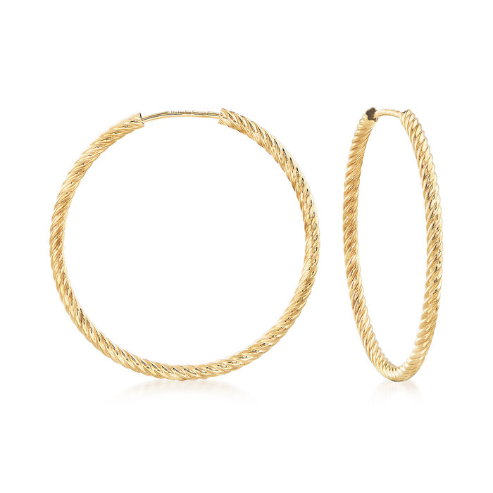 """Small 14kt Yellow Gold Roped Hoop Earrings. 1 1/8"""", , default"""