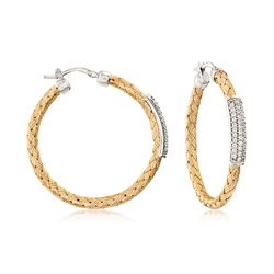 "Charles Garnier ""Nardini"" .65 ct. t.w. CZ Station Hoop Earrings in Two-Tone Gold, , default"