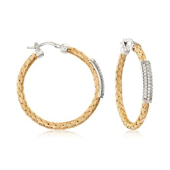 "Charles Garnier ""Nardini"" .65 ct. t.w. CZ Station Hoop Earrings in Two-Tone Gold. 1 1/2"", , default"