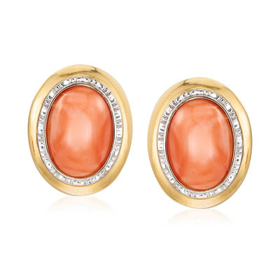 C. 1980 Vintage 15x10mm Coral Earrings in 14kt Yellow Gold, , default