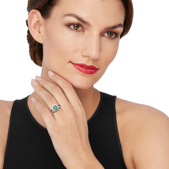 1.70 Carat Emerald, 1.20 ct. t.w. Ruby and .50 ct. t.w. Diamond Ring in 14kt Rose Gold. Size 7, , default