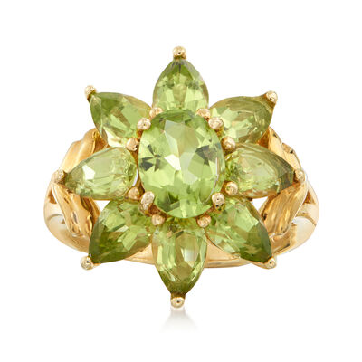 C. 1980 Vintage 1.60 ct. t.w. Peridot Flower Ring in 14kt Yellow Gold, , default