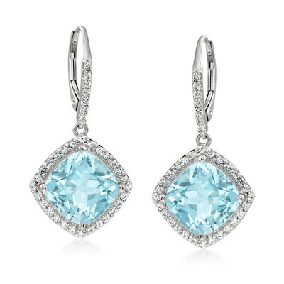 10.20 ct. t.w. Blue and White Topaz Drop Earrings in Sterling Silver, , default