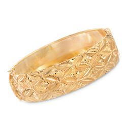 "Italian 18kt Yellow Gold Diamond-Cut Bangle Bracelet. 7.5"", , default"
