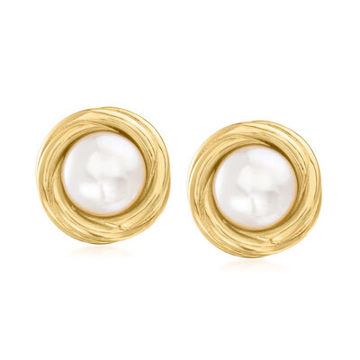 8-8.5mm Cultured Pearl Love Knot Clip-On Earrings in 18kt Gold Over Sterling