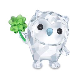 "Swarovski Crystal ""Hoot- I Am So Lucky"" Green and Clear Crystal Owl Figurine, , default"