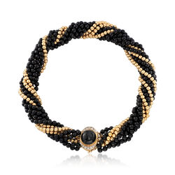 "C. 1980 Vintage Black Onyx and 14kt Yellow Gold Bead Torsade Necklace With .25 ct. t.w. Diamonds. 15.5"", , default"