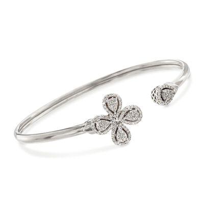 .68 ct. t.w. Diamond Flower Cuff Bracelet in Sterling Silver, , default