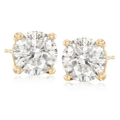 7.00 ct. t.w. CZ Stud Earrings in 14kt Yellow Gold, , default