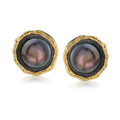 8.5-9mm Black Cultured Button Pearl Stud Earrings in Sterling Silver and 14kt Yellow Gold