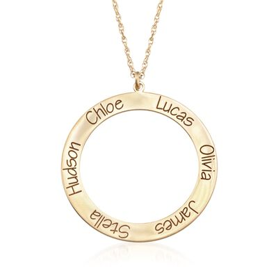 14kt Yellow Gold Personalized Open Circle Pendant Necklace