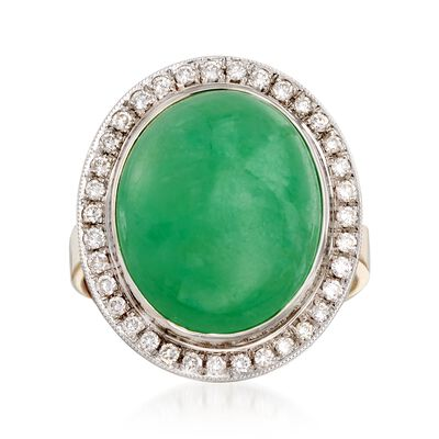 C. 1990 Vintage Jade and .45 ct. t.w. Diamond Ring in 18kt Two-Tone Gold