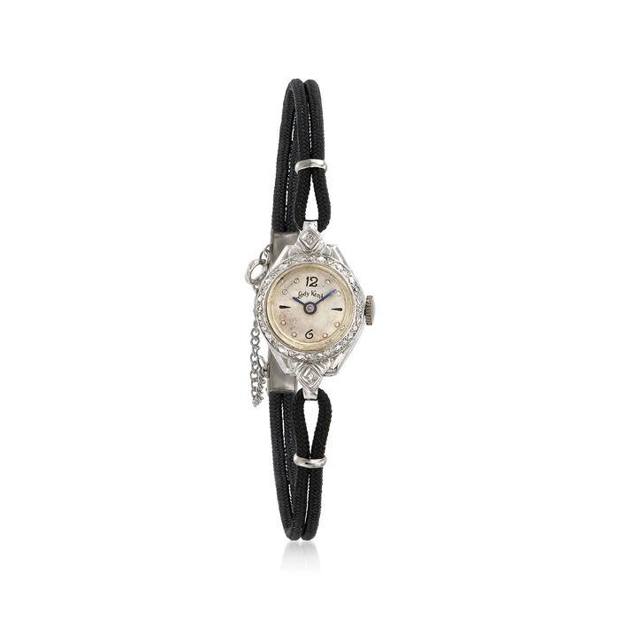 C. 1950 Vintage Kent Woman's .15 ct. t.w. Diamond Mechanical 17mm Watch in 14kt White Gold. Size 7, , default